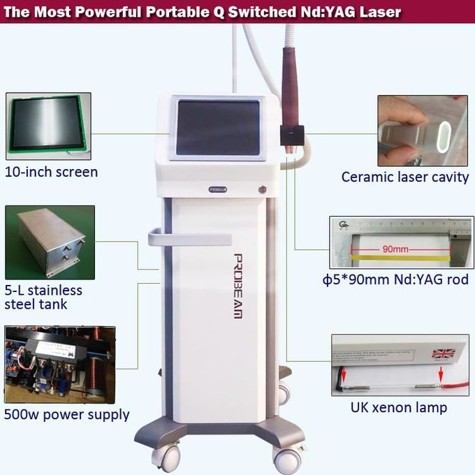 1000MJ ND YAG Laser Machine 532nm 1064nm Laser Tattoo Removal Device Durable CE Approved